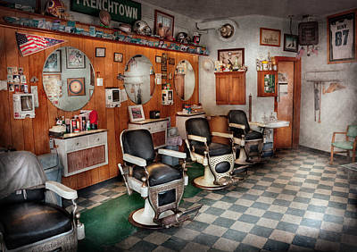 Barber Chair Photograph - Barber - Frenchtown Barbers  by Mike Savad