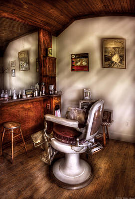 Barber - In The Barber Shop  Art Print by Mike Savad