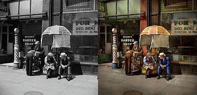 Photograph - Barber - At Nelson's Barber Shop 1937 - Side By Side by Mike Savad