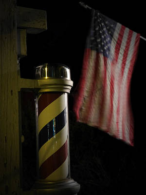 Photograph - Barber Pole / American Flag by Colleen VT