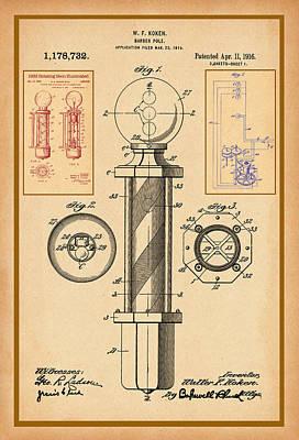 Digital Art - Barber Pole Patent Drawing by Carlos Diaz