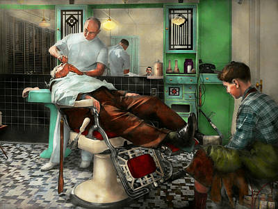 Photograph - Barber - Shave - Pennepacker's Barber Shop 1942 by Mike Savad