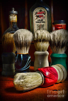 Barber Pole Photograph - Barber - Shaving Brushes by Paul Ward