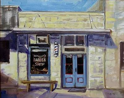 Mike Martin Painting - Barber Shop by Mike Martin