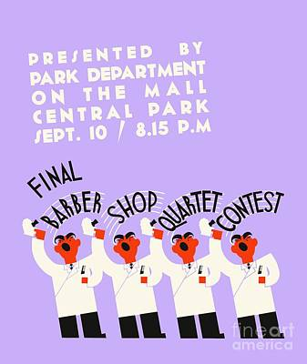 Barber Shop Quartet Song Contest Art Print by Heidi De Leeuw