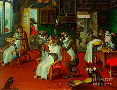 Painting - Barber Shop With Cats And Apes By Abraham Teniers by Peter Gumaer Ogden Collection