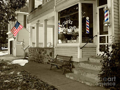 Photograph - Clarks Barber Shop With Color by Tom Brickhouse