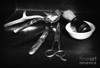 Barber - Things In A Barber Shop - Black And White Art Print