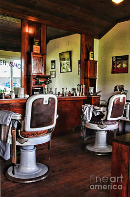 Brown Clipper Photograph - Barber - Two Chairs No Waiting  by Paul Ward