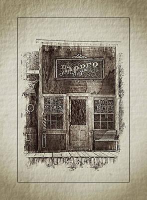 Comedian Drawings - Barbershop Randsburg by Hugh Smith