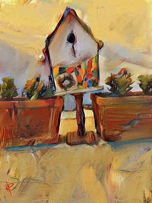 Mixed Media - Barb's Bird House by Russell Pierce