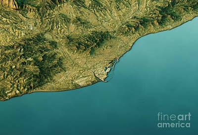 Travel Digital Art - Barcelona 3d Landscape View South-north Natural Color by Frank Ramspott