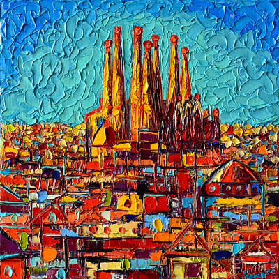 Antoni Gaudi Wall Art - Painting - Barcelona Abstract Cityscape - Sagrada Familia by Ana Maria Edulescu
