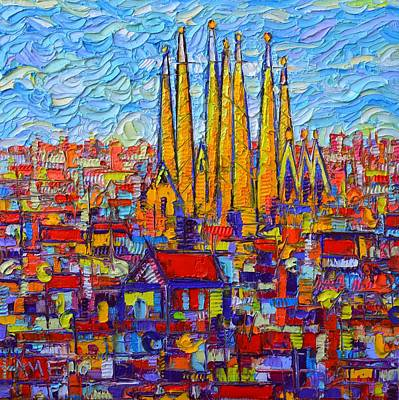 Barcelona Abstract Cityscape Sagrada Familia Modern Palette Knife Oil Painting By Ana Maria Edulescu Original by Ana Maria Edulescu