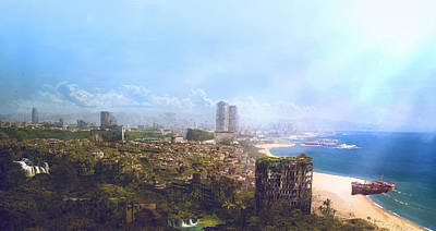 Science Fiction Painting - Barcelona Aftermath La Barceloneta by Guillem H Pongiluppi