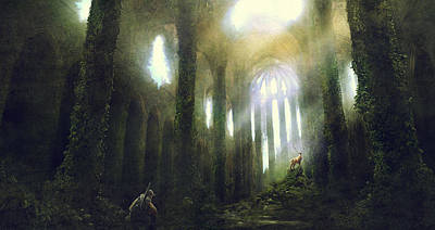 Science Fiction Painting - Barcelona Aftermath Santa Maria Del Mar by Guillem H Pongiluppi
