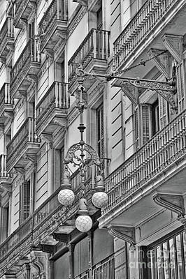 Photograph - Barcelona Balconies In Black And White  by Carol Groenen