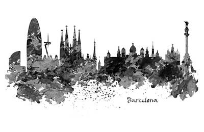 Barcelona Digital Art - Barcelona Black And White Watercolor Skyline by Marian Voicu