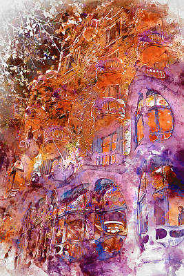 Painting - Barcelona, Casa Batllo, Watercolor - 02 by Andrea Mazzocchetti