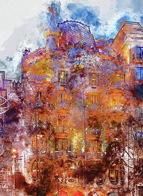 Painting - Barcelona, Casa Batllo, Watercolor - 03 by Andrea Mazzocchetti