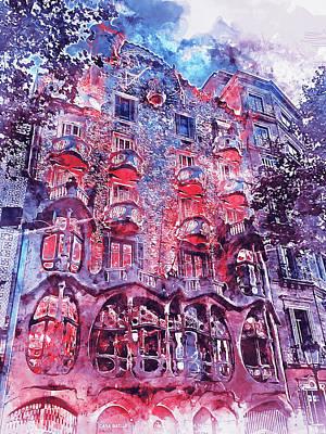 Painting - Barcelona, Casa Batllo, Watercolor - 04 by Andrea Mazzocchetti