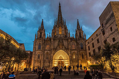 Photograph - Barcelona Cathedral At Dusk by Randy Scherkenbach