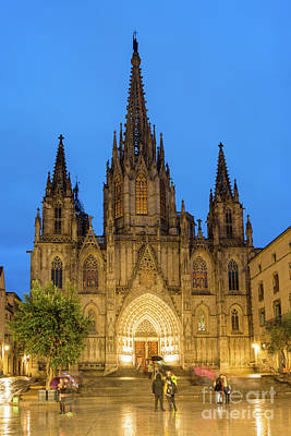 Photograph - Barcelona Cathedral At Night by Andrew Michael