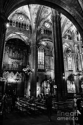 Photograph - Barcelona Cathedral Interior Bw by RicardMN Photography
