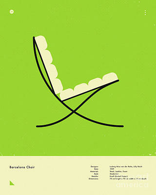 Infographic Digital Art - Barcelona Chair 1929 by Jazzberry Blue