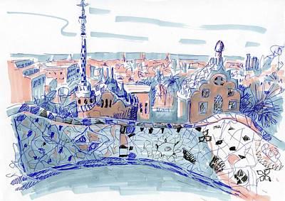 Barcelona City Sketch Original by Anna Potanina