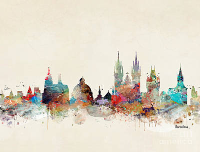 Print featuring the painting Barcelona City Skyline by Bri B