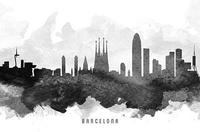 Spain Painting - Barcelona Cityscape 11 by Aged Pixel