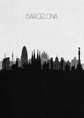 Drawing - Barcelona Cityscape Art by Inspirowl Design
