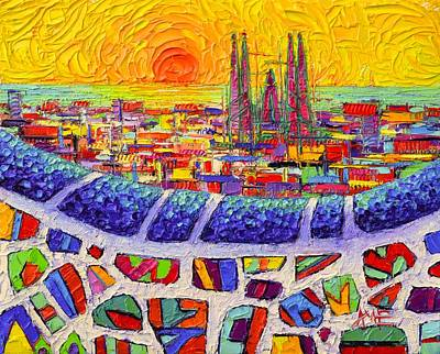 Painting - Barcelona Colors From Park Guell Abstract Stylized Cityscape Modern Impressionism Knife Oil Painting by Ana Maria Edulescu