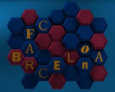Sport Digital Art - Barcelona Fashion With Hexagons by Alberto RuiZ
