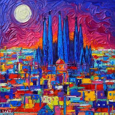 Painting - Barcelona Full Moon Over Sagrada Familia Modern Abstract City Knife Oil Painting Ana Maria Edulescu by Ana Maria Edulescu