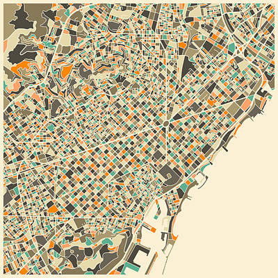 Barcelona Digital Art - Barcelona Map by Jazzberry Blue