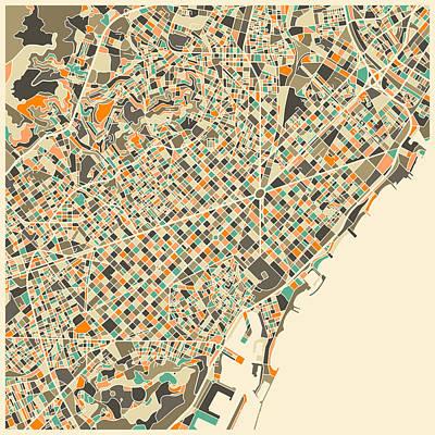 Spain Wall Art - Digital Art - Barcelona Map by Jazzberry Blue