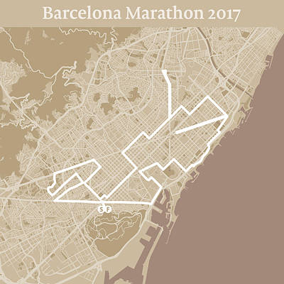 Running Digital Art - Barcelona Marathon #1 by Big City Artwork