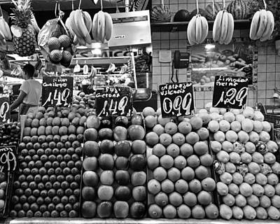 Photograph - Barcelona Market Barcelona Spain Black And White by Toby McGuire