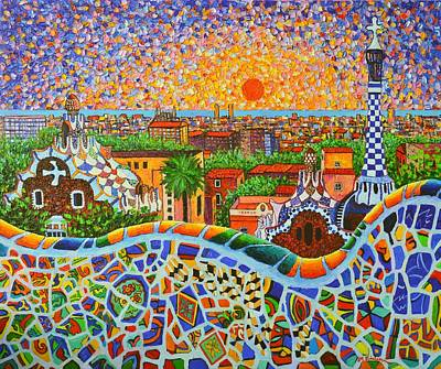 Architectural Painting - Barcelona Panorama Park Guell Modern Impressionist Palette Knife Oil Painting By Ana Maria Edulescu by Ana Maria Edulescu
