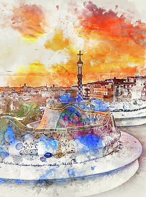 Painting - Barcelona, Parc Guell - 01 by Andrea Mazzocchetti