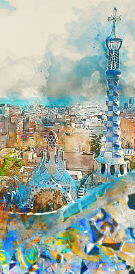 Painting - Barcelona, Parc Guell - 02 by Andrea Mazzocchetti