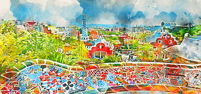 Painting - Barcelona, Parc Guell - 03 by Andrea Mazzocchetti
