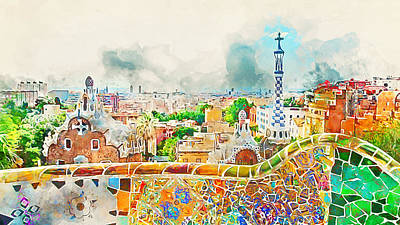 Painting - Barcelona, Parc Guell - 04 by Andrea Mazzocchetti
