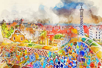 Painting - Barcelona, Parc Guell - 05 by Andrea Mazzocchetti