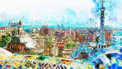 Painting - Barcelona, Parc Guell - 06 by Andrea Mazzocchetti