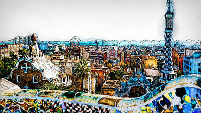 Painting - Barcelona, Parc Guell - 07  by Andrea Mazzocchetti