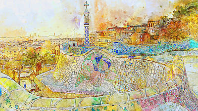 Painting - Barcelona, Parc Guell - 08 by Andrea Mazzocchetti