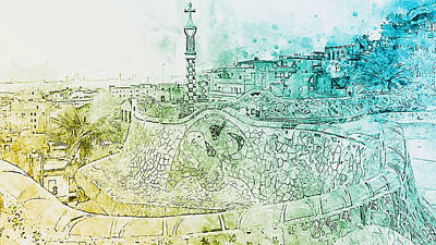 Painting - Barcelona, Parc Guell - 09 by Andrea Mazzocchetti